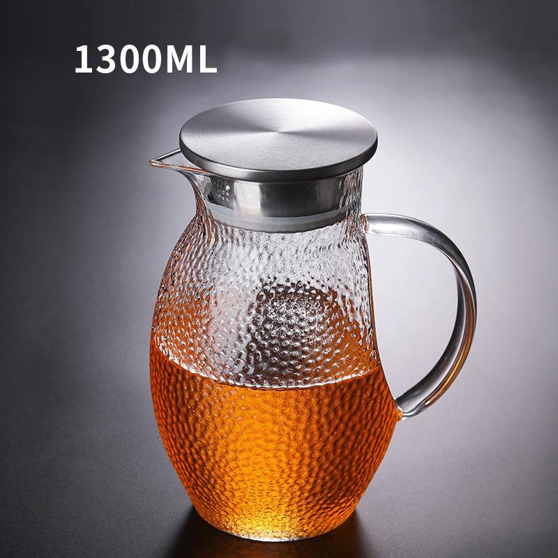 Bilde av 1.3L Elegant Glass Tea Pot Microwave and Stovetop Teapot With Stainless Steel Tea Strainer Infuser