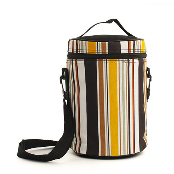 SaicleHome Vintage Oxford Lunch Tote Bag Cooler Insulated Handbag Zipper Picnic Travel Striped Bags