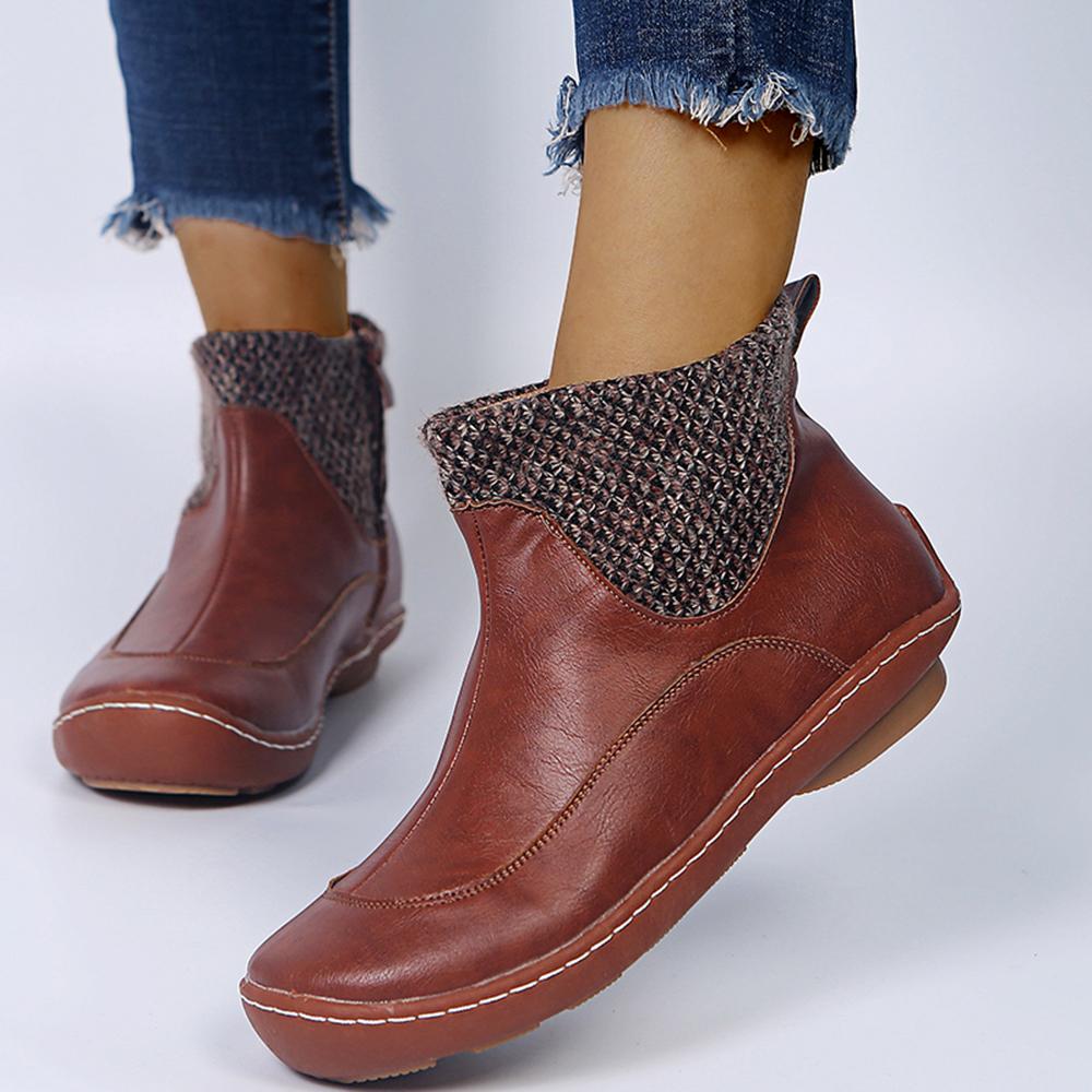 Plus Taille s Confortable Épissage Bout Rond Bout Rond Fermeture Éclair Desert Boots - Newchic - Modalova