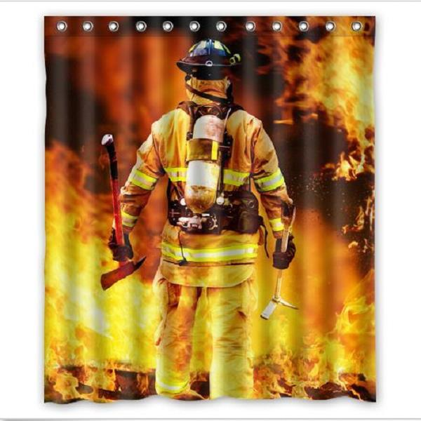 Bathroom Shower Curtain Firefighter And Fire Pattern Waterproof Shower Curtain With 12 Hooks