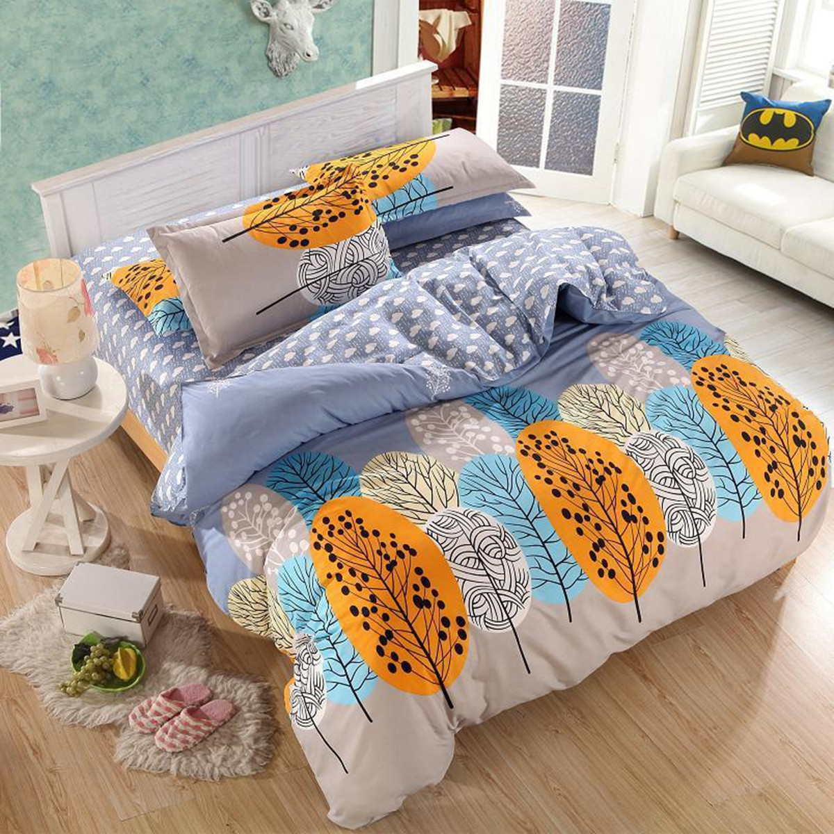 3or 4Pcs Leaves Printed Bedding Set Duvet Cover Sets Bed Include Bed Sheet Pillowcase SKU334414