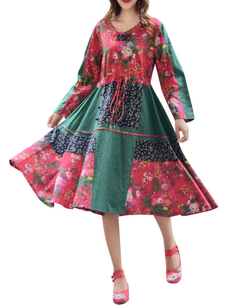 Ethnic Patchwork Long Sleeve Drawstring Vintage Dresses SKU750936