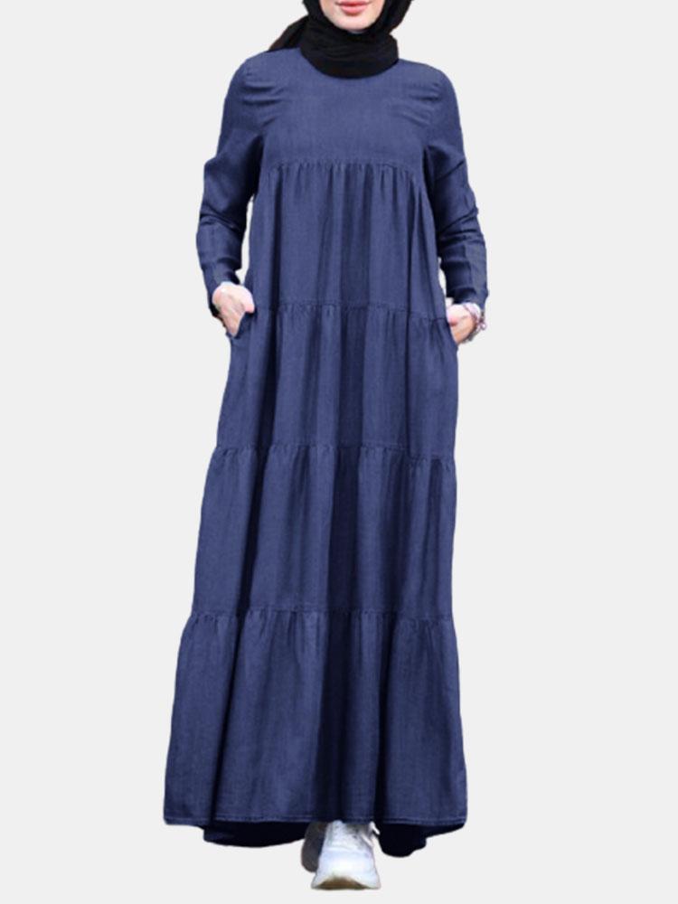 newchic - Lässig einfarbig lose Plus Größe Maxi Kleid mit Taschen