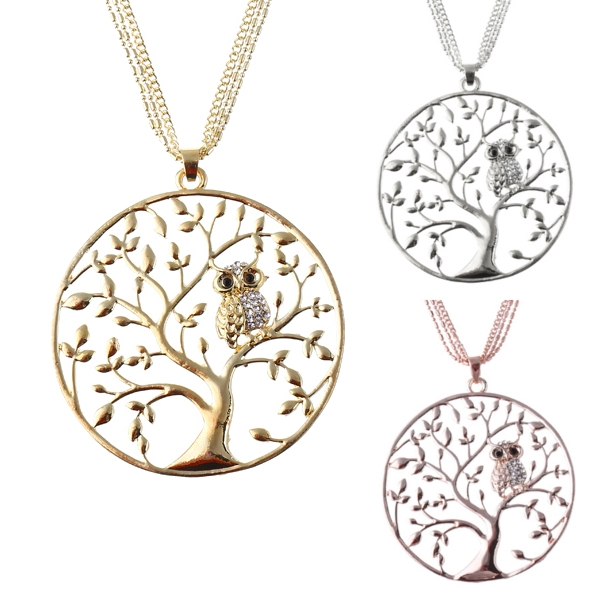 Rhinestone Owl Tree of Life Necklace Silver Gold Rose Gold Sweater Necklace Fashion Women Jewelry SKU872770