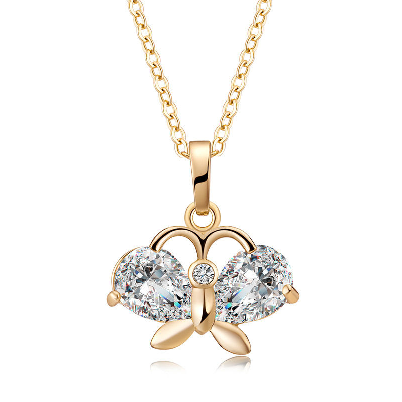 Fashion Pendant Necklace Gold Butterfly Zircon Chain Charm Necklace Elegant Jewelry for Women