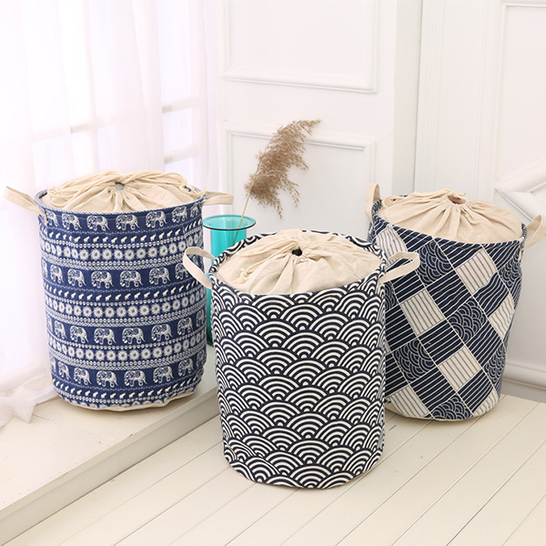 35x45cm Waterproof Durable Cloth Storage Basket High Capacity Cotton Linen Laundry Box Organizer
