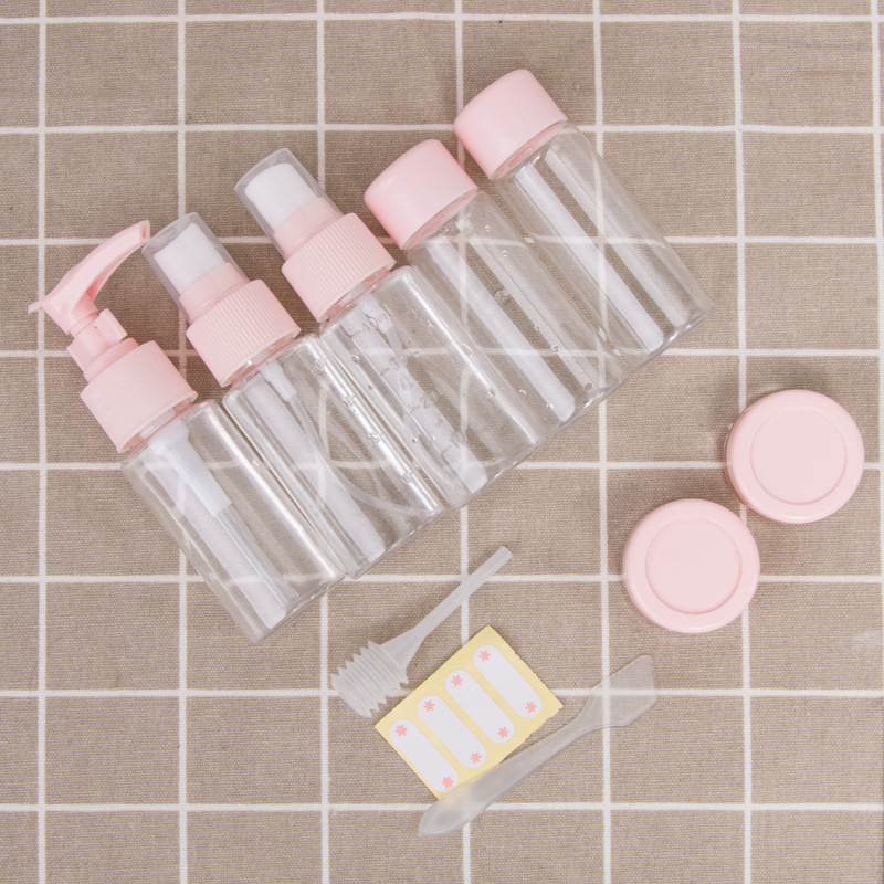 PET 10PCS Travel Cosmetics Storage Bottle Set Portable Press Spray Bottle Emulsion Cream Storage Box
