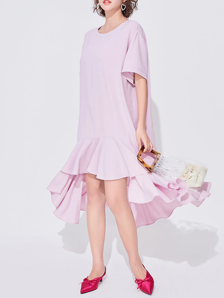 Short-sleeved Stitching Irregular Ruffled Mid-length Dress
