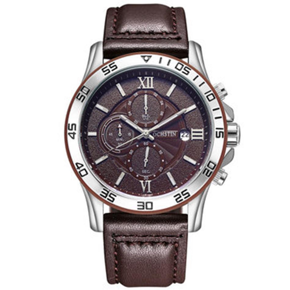 S d'affaires montre-bracelet multi-fonction chronographe à quartz montres en cuir Marque - Newchic - Modalova