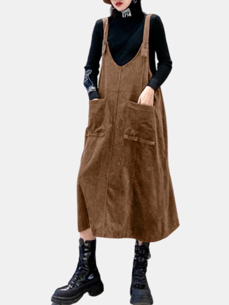 Bretelles en velours côtelé Loose Plus Taille Robe avec poches - Newchic - Modalova