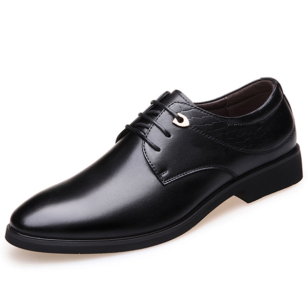 Men Pointed Toe Lace Up Leather Dress Shoes SKU842157