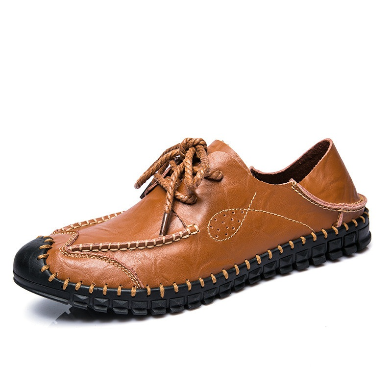 Men Hand Stitching Stylish Two Ways Wearing Leather Shoes SKU902377