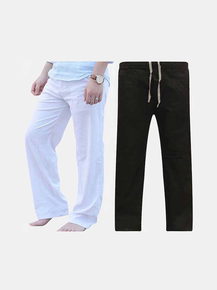 Mens Baggy Breathable Cotton Wide Leg Pants Solid Color Casual Loose Comfy Dancing Pants SKUA22493