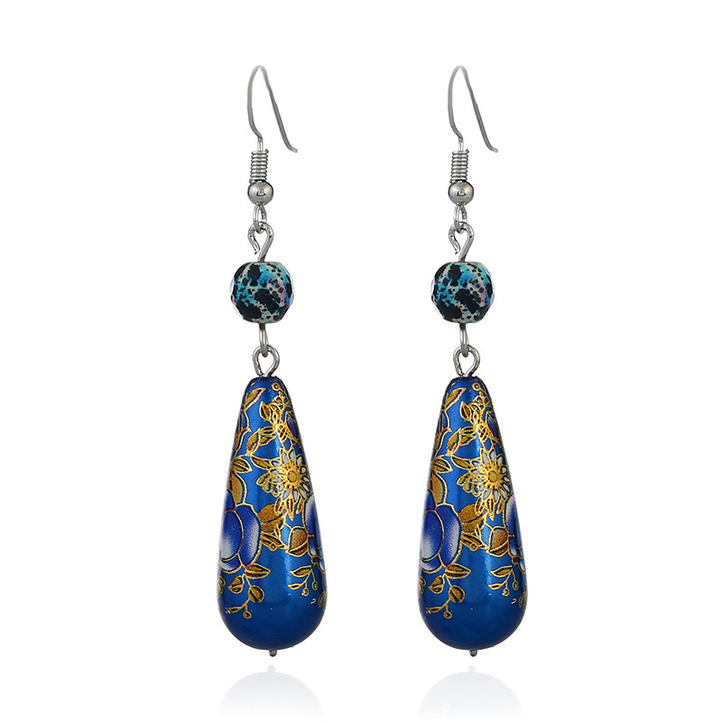 Ethnic Drop Earrings Vintage Colorful Flower Cloisonne Turquoise Dangle Earrings Jewelry for Women