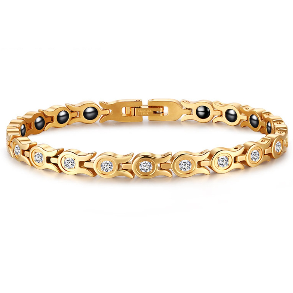 Fashion Chain Gold Bracelet Magnetic Therapy Zirconia Stainless Steel Single Row Bracelet for Women