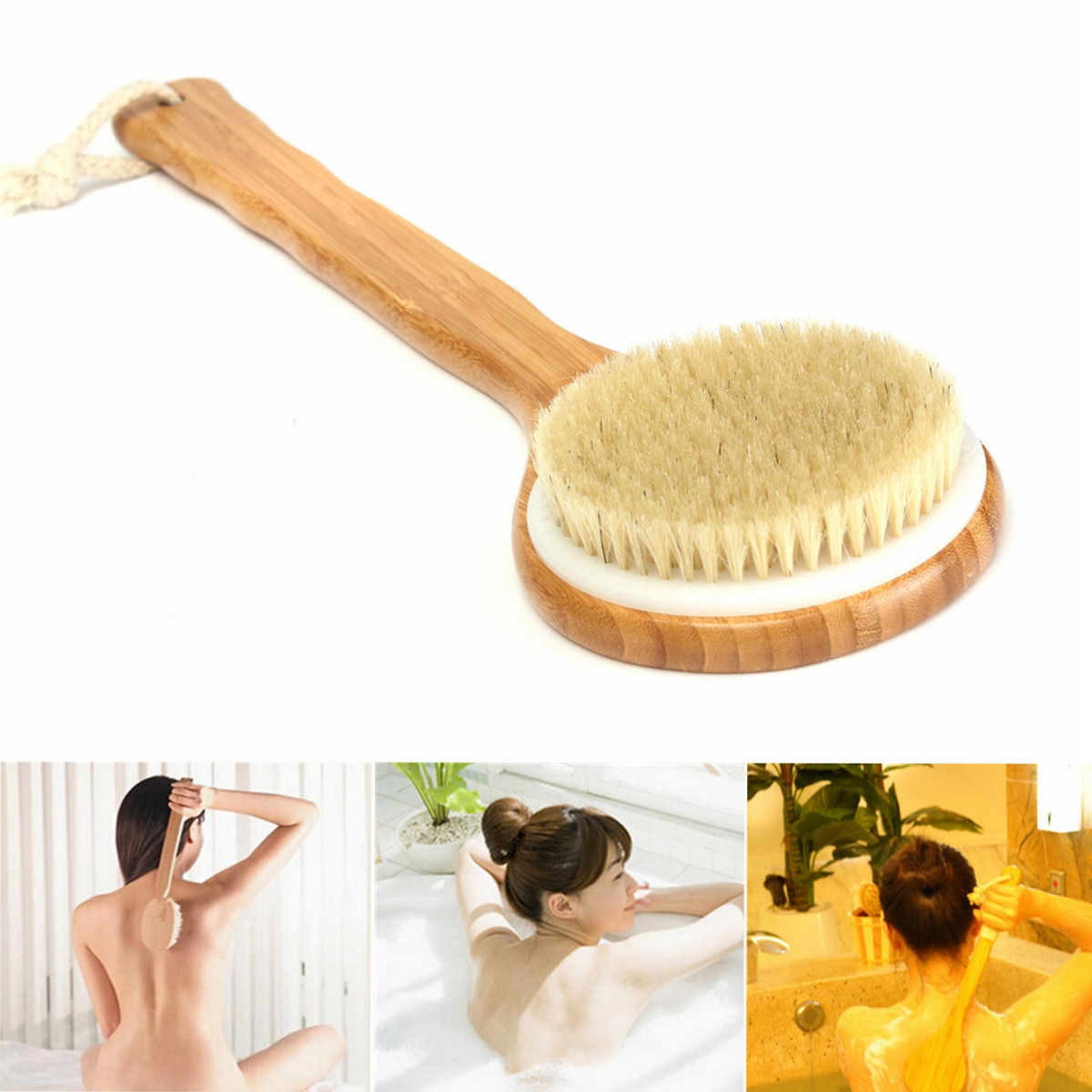 Bristle Long Handle Wooden Bath Shower Body Brush Spa Scrubber Soap Cleaner Exfoliating Bath Tools SKU267765