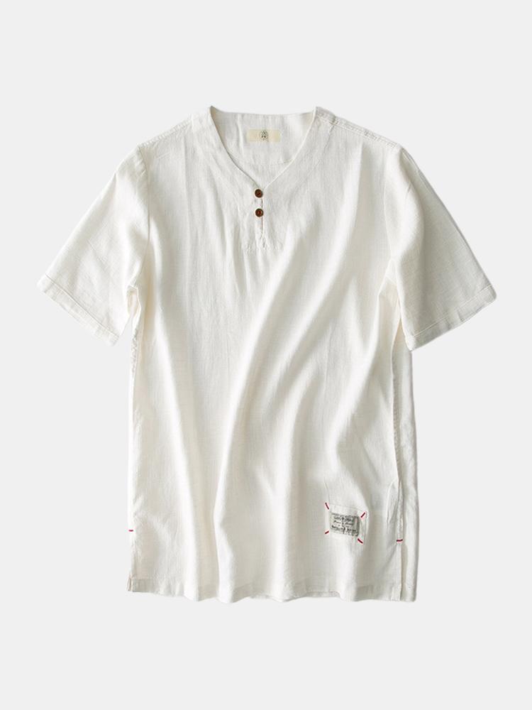 Mens basique couleur unie boutons décoration respirant t-shirt à manches courtes - Newchic - Modalova
