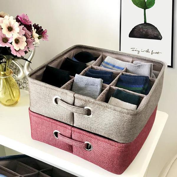 Image of Thicken Cotton Linen Art Storage Basket Home Supplies Underwear Storage Box
