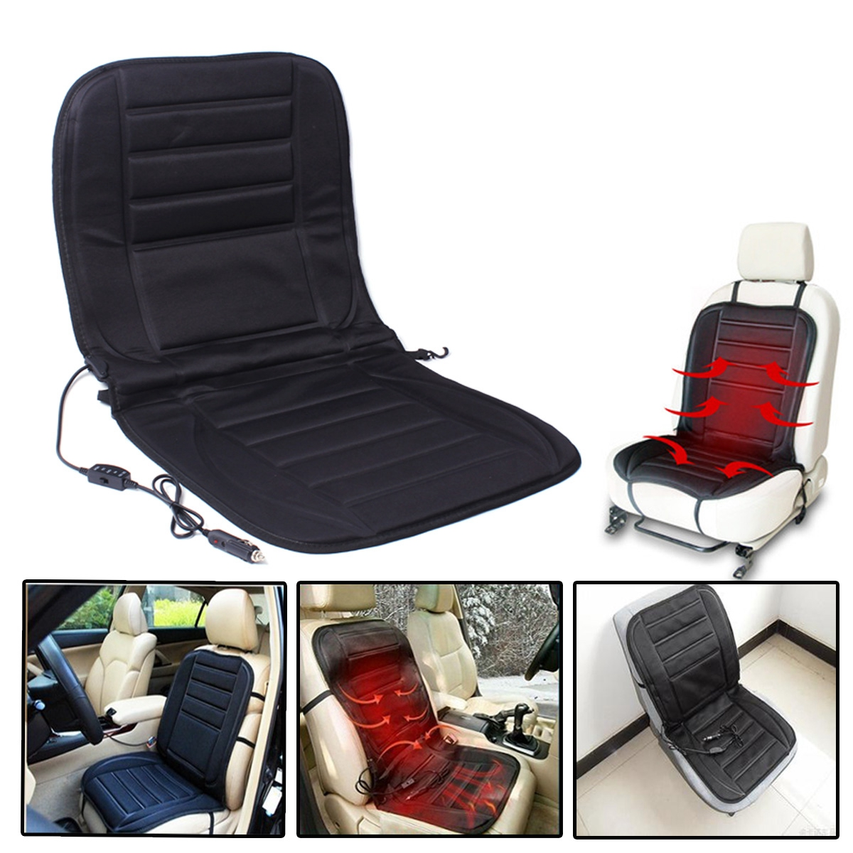 12V Car Auto Heated Padded Pad Hot Seat Cushion Cover Warmer SKU107143