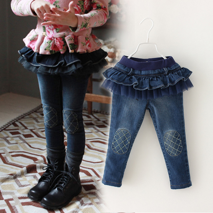 Princess Girls Jeans Cute Pants Tutu Skirt Kids Trousers SKU831072
