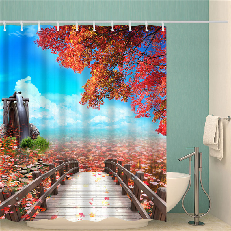 Waterproof Shower Curtain Digital Printing Bathroom Decoration Shocking Landscape Shower Curtain
