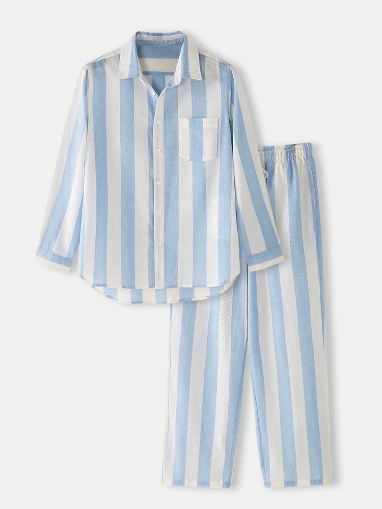 newchic - Gestreifte Baumwolle Home Loungewear Sets Bequeme zweiteilige Langarm-Shirt-Outfits für Männer