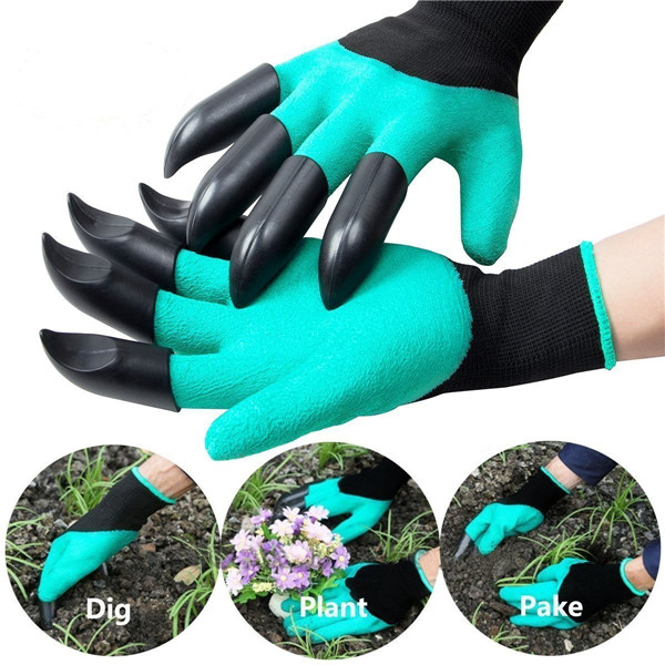 2Pcs Gardening Digging Gloves Planting Rubber Left Hand Claws and Right Hand Claws Grip Gloves SKU662303