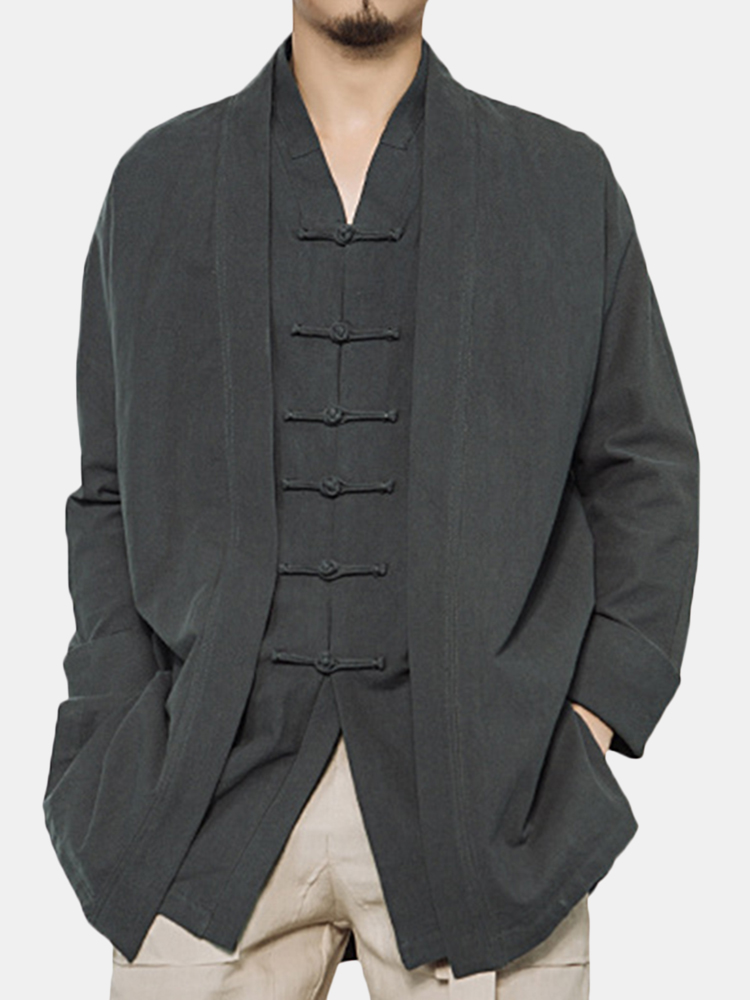 a362b3e7c4d3 Mens National Style Solid Color Long Sleeve Cotton Cardigans Vintage Casual  Jacket