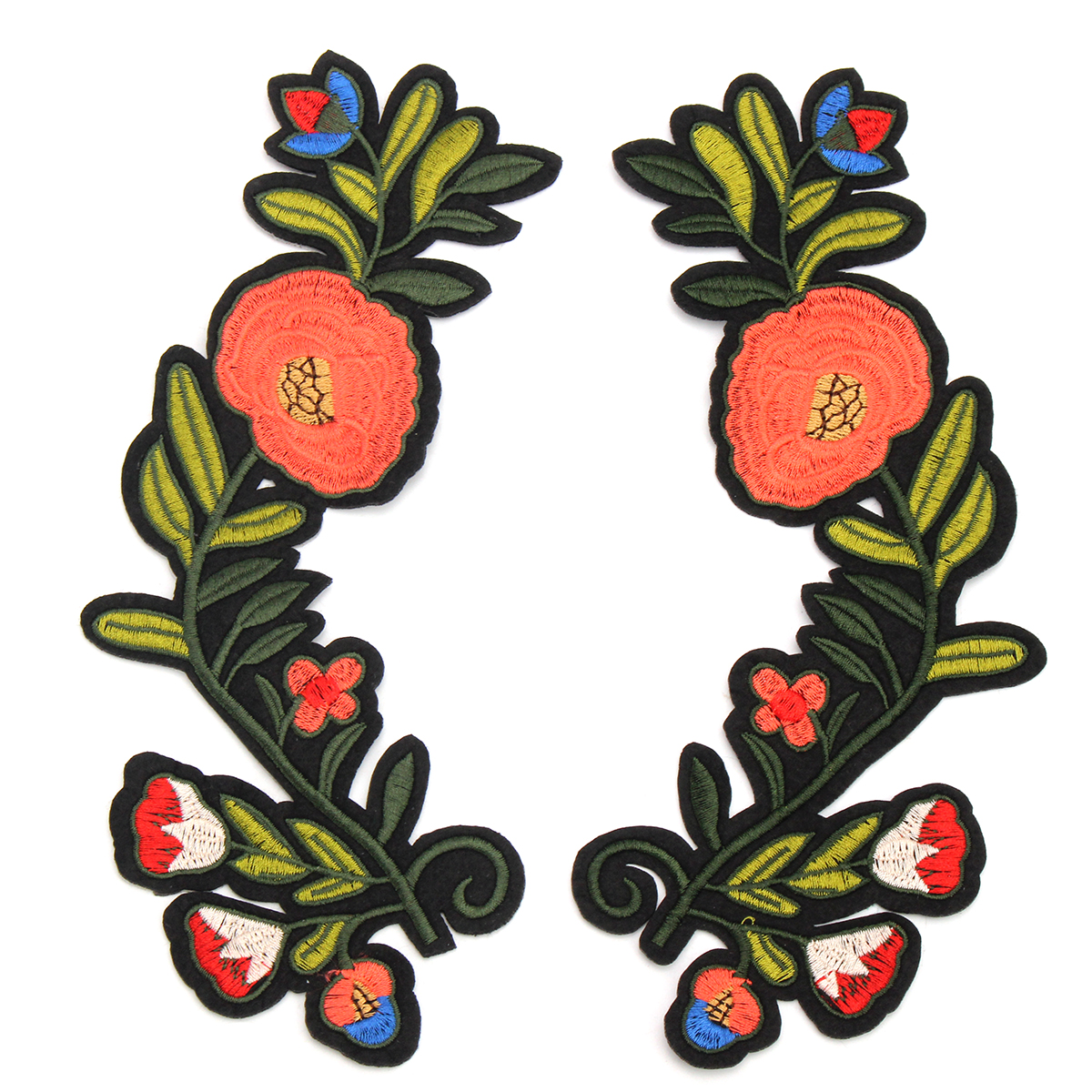 DIY 1 Pair Red Green Flower Patch Embroidered Apparel Accessories Floral Patches Sew on Applique