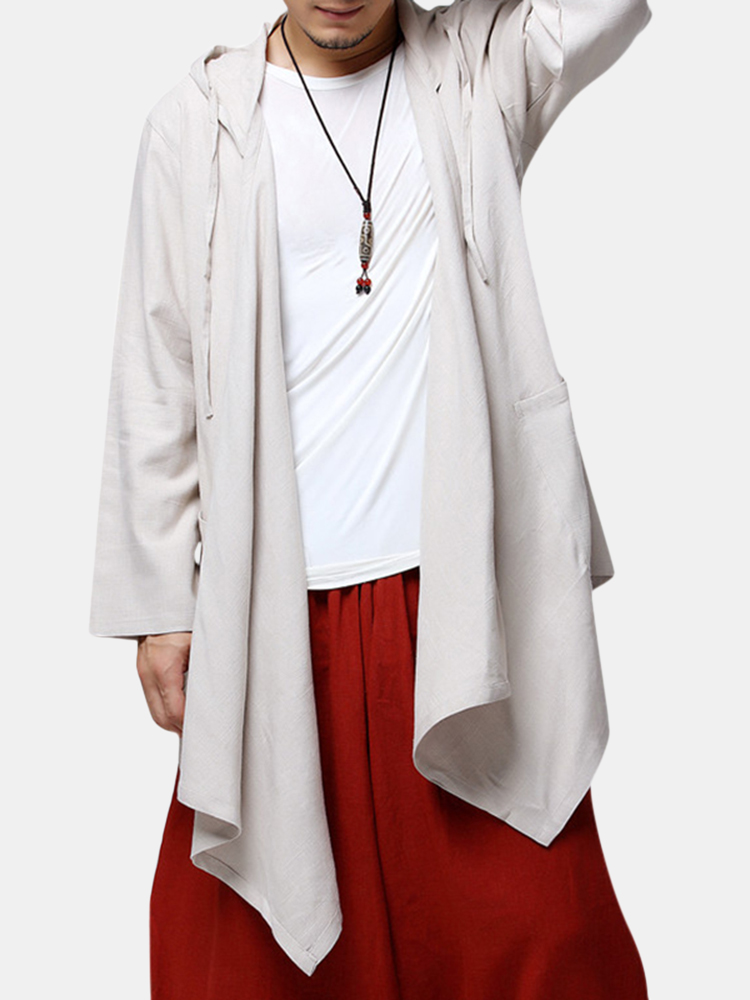 15c08016fe59 Mens Chinese Style Mid-long Hooded Jacket Cotton Solid Color Cardigans