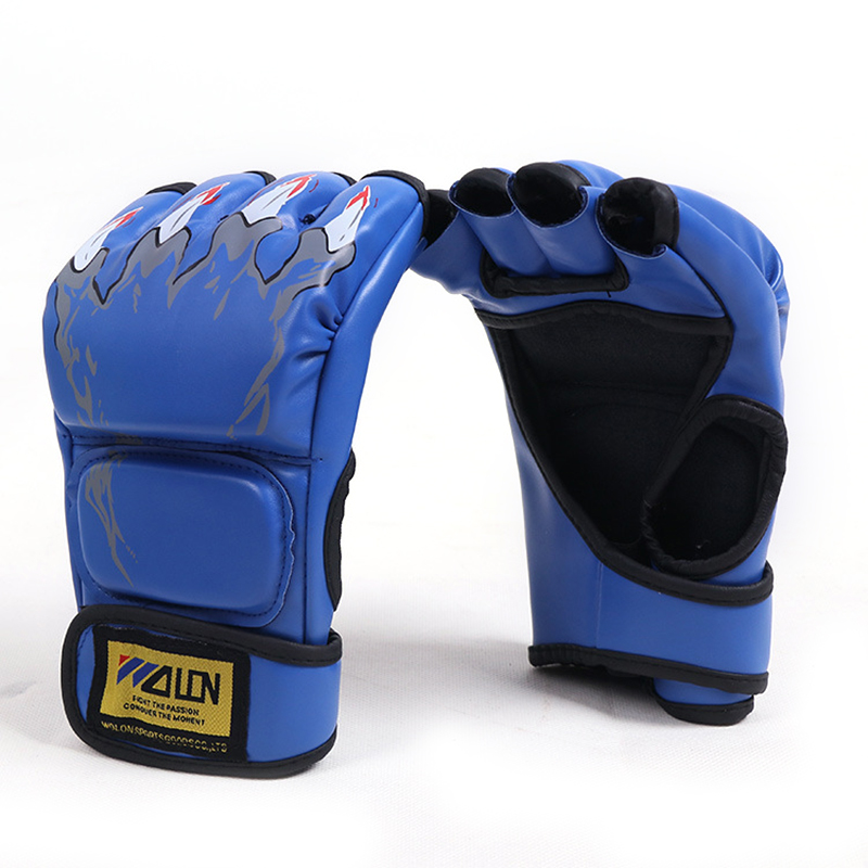 Men's Microfiber Leather Thickened Sports Comfortable Durable Half Finger Boxing Gloves SKU996712