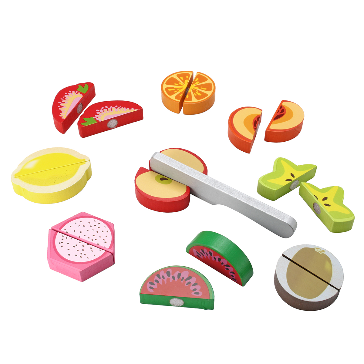 Children Wooden Pretend Role Play Food Toy Kitchen Fruit Vegetable Cutting Set
