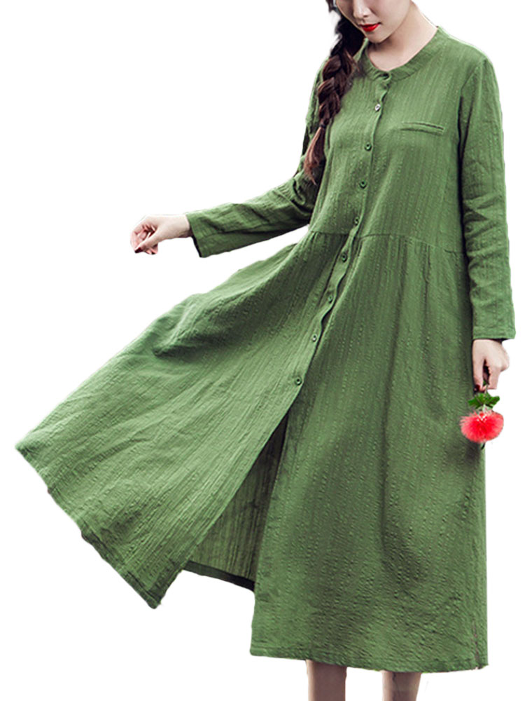 Retro Cotton Linen Loose Thin Long-sleeved Mid-length Dresses