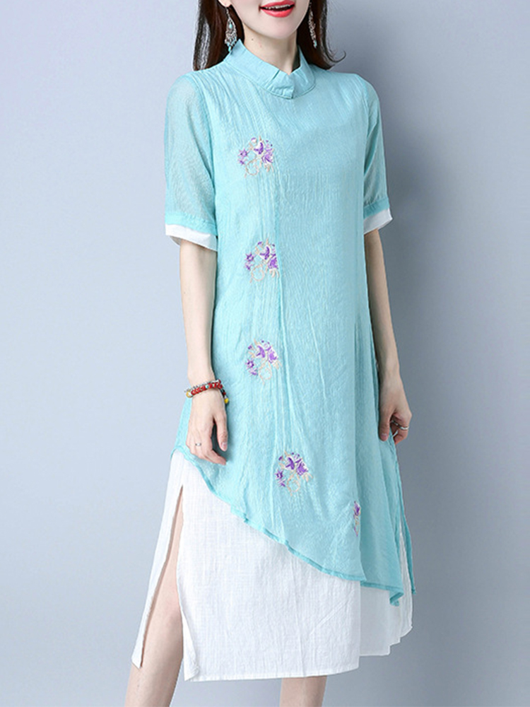 Vintage Women Short Sleeves False two pieces Embroidery Dresses SKU717008