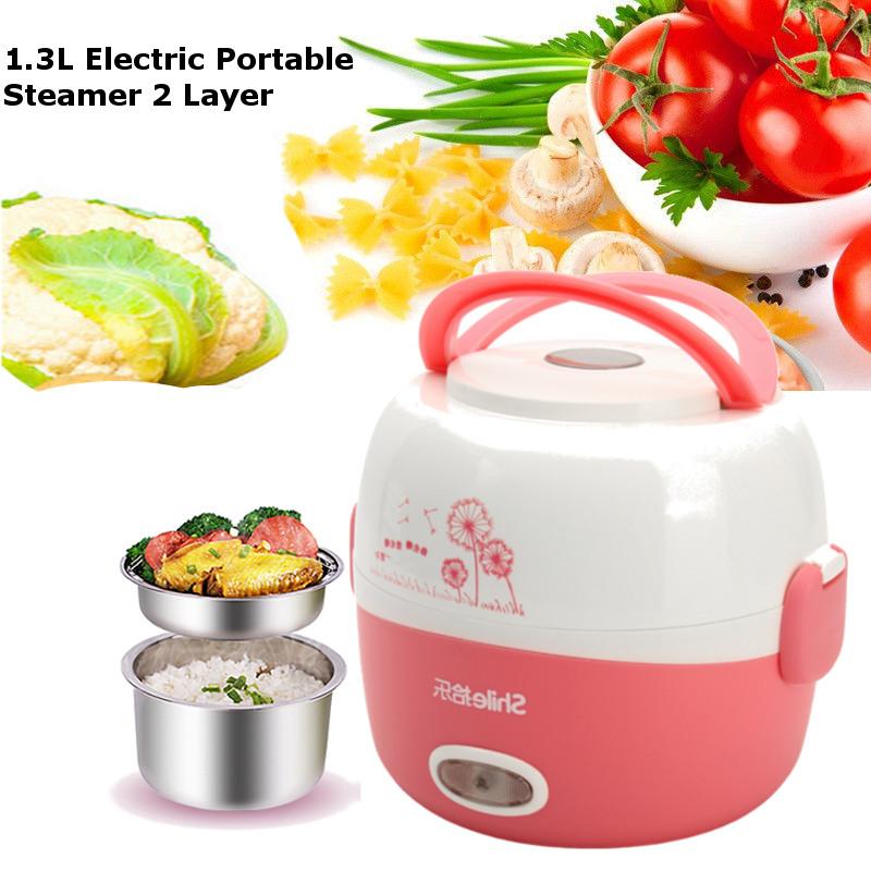 Imagem de 1.3L 2 Lechada eléctrica 220V portátil calentado almuerzo comida contenedor arroz cocina vaporizador acero inoxidable
