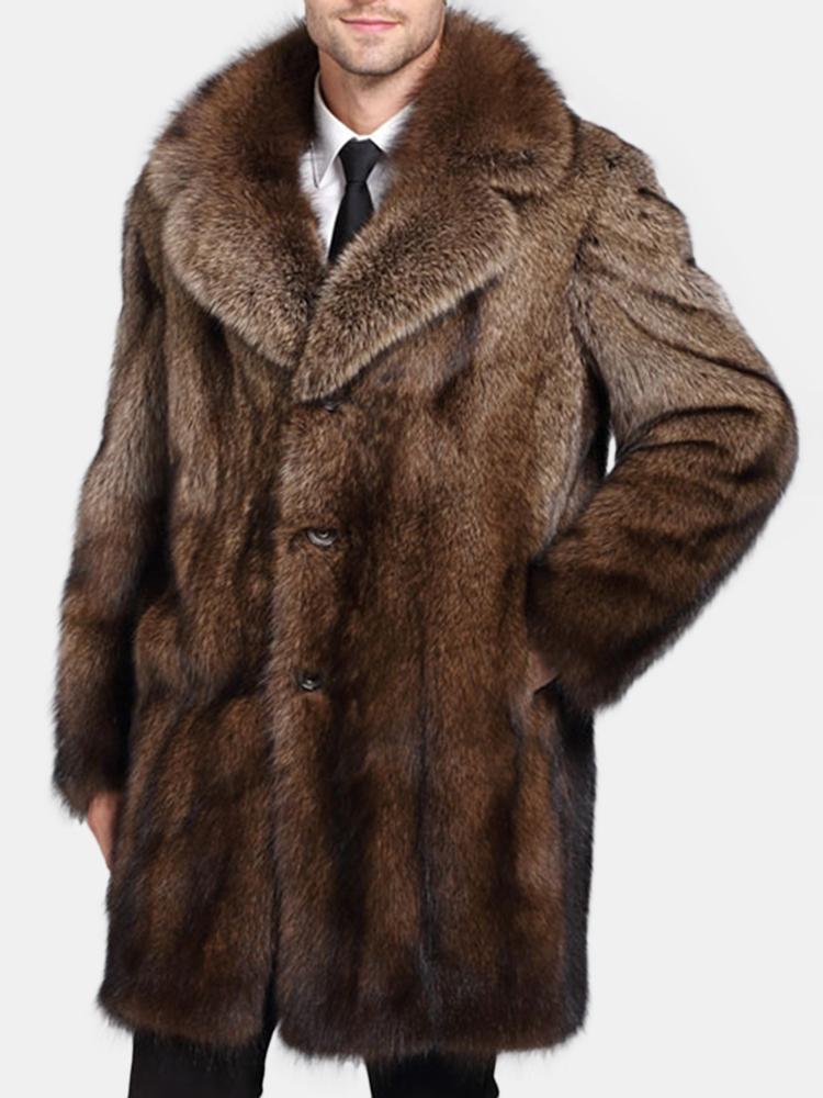 Mens Kunstpelz lose Trenchcoat Winter warm verdickte mittlere lange Freizeitjacke