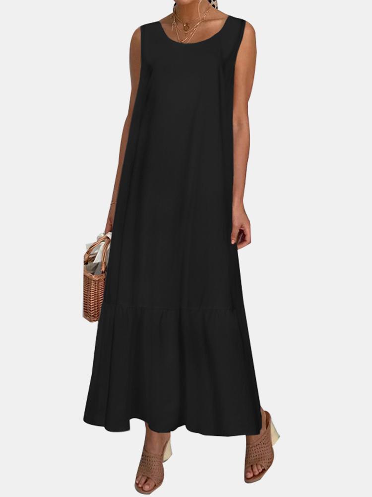 newchic - Beiläufiger Normallack gekräuselter Rand Oansatz gefaltetes langes Maxi abgestuftes Kleid