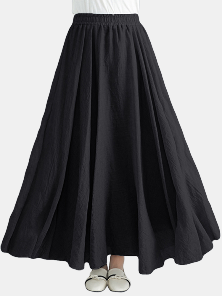 Elastischer Rock mit hoher Taille Casual Loose Flare Swing Long Maxi Kleid