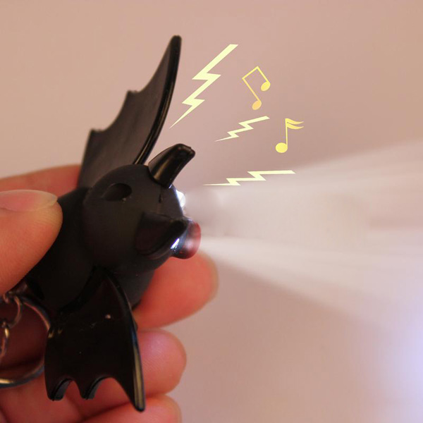 Luminous Sound Cartoon Plastic Bat Toy Pendant LED Key Chain