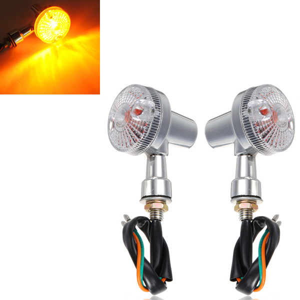 Universal Front Rear Motorcycle Turn Signals Indicators Amber Lights Lamp