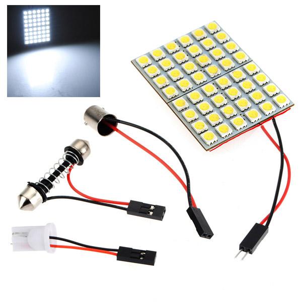 Image of Car interior 5050 48 smd LED pannello luminoso+t10+festone+ba9s dc 12v