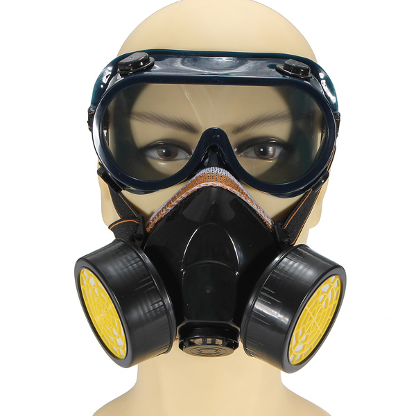 Dual Anti-Dust Respirator Mask Glasses Set Spray Paint Industrial Gas