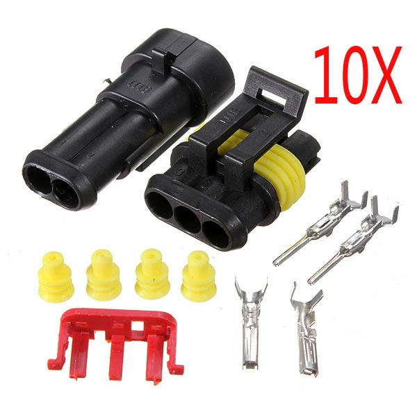 10 Kits 2 Pin Way Sealed Waterproof Electrical Wire Connector Plug ...