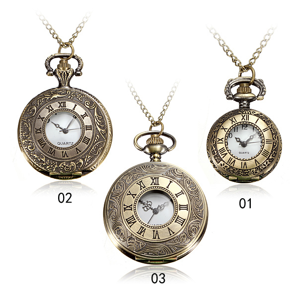 Vintage Roma Steampunk Quartz Pendant Necklace Women pocket watch