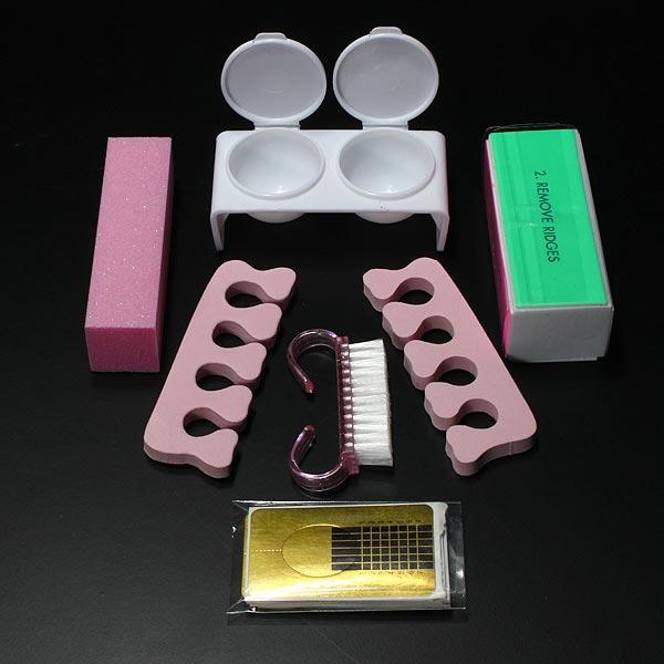 Pro Glitter Acrylic Powder Brush Tweezer Primer Nail Art Tips Kit Set