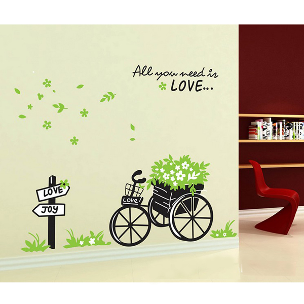 removerable green love float wall sticker home decor free shipping removable vinyl wall art decals decor home