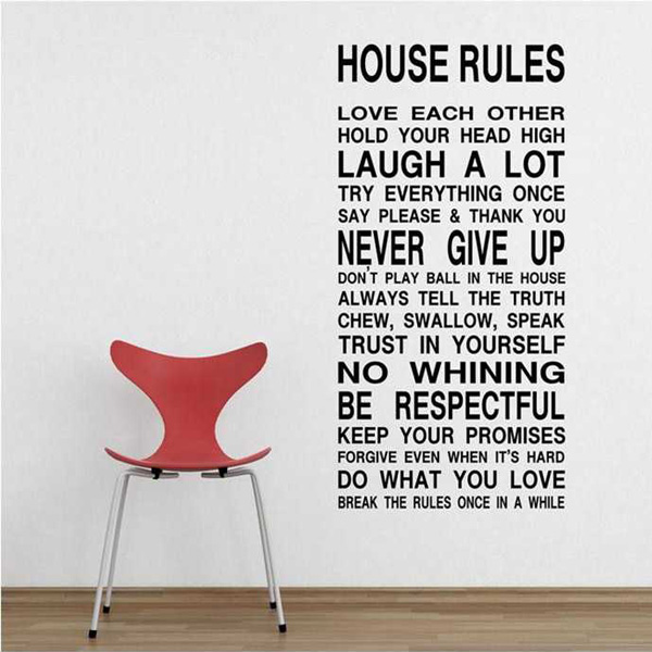 House rules art words graphics pvc wall sticker wallpaper for Classic house quotes