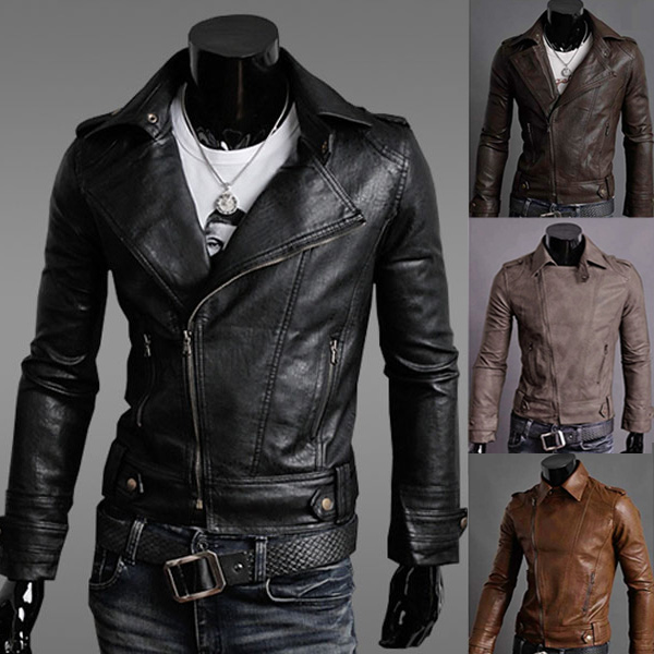 Hot New Stylish Men's Slim Fit PU Faux Leather Rider Jackets - US ...
