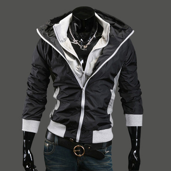Men's Fashion Casual Splicing Double Collar Slim Fit Coat ...