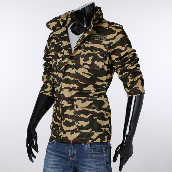 Men's Stand-up Collar Zipper Camouflage Casual Frock ...